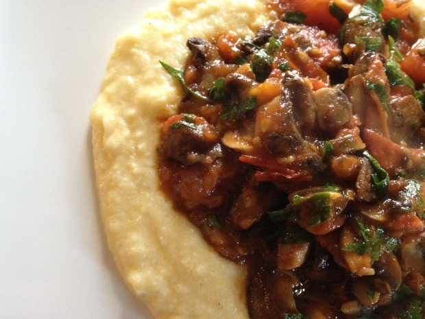 Creamy Polenta with Tomato and Mushrooms