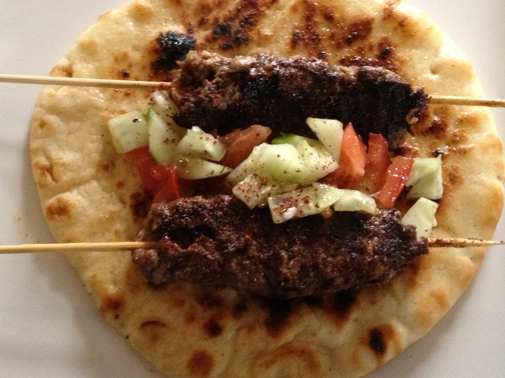 Beef Kabobs on Flat Bread
