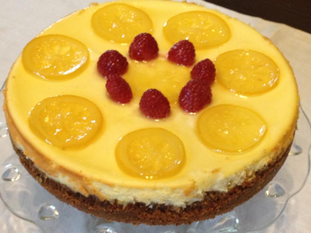 Lemon Saffron Cheese Cake with Whole Meal,Pistachio,Cardamom Crust (1/3)