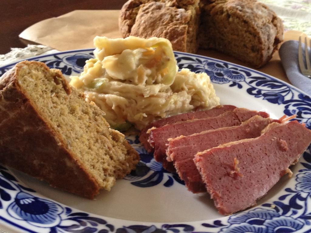 Corned beef, Colcannon, irish soda bread