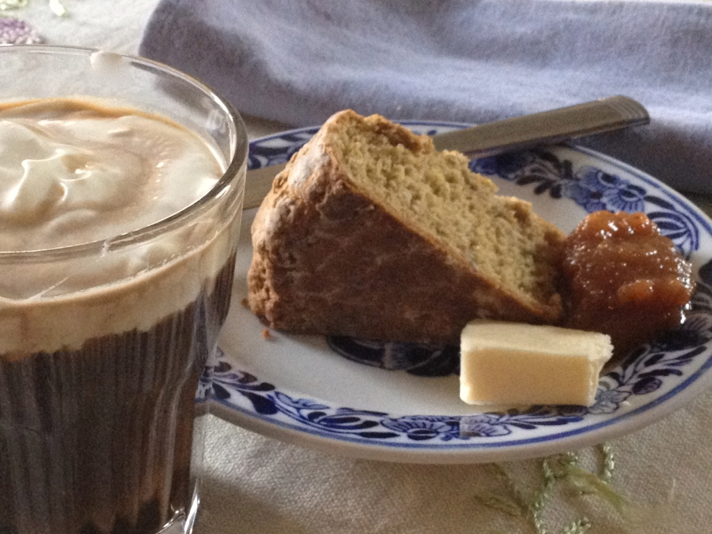 Irish Coffee,Brown Bread with Butter and Caramelized Pear Jam