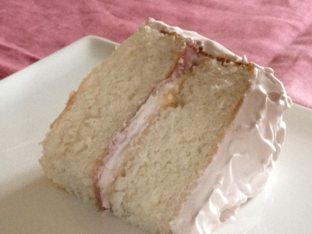 White Cake With Blackberry Whipped Cream frosting