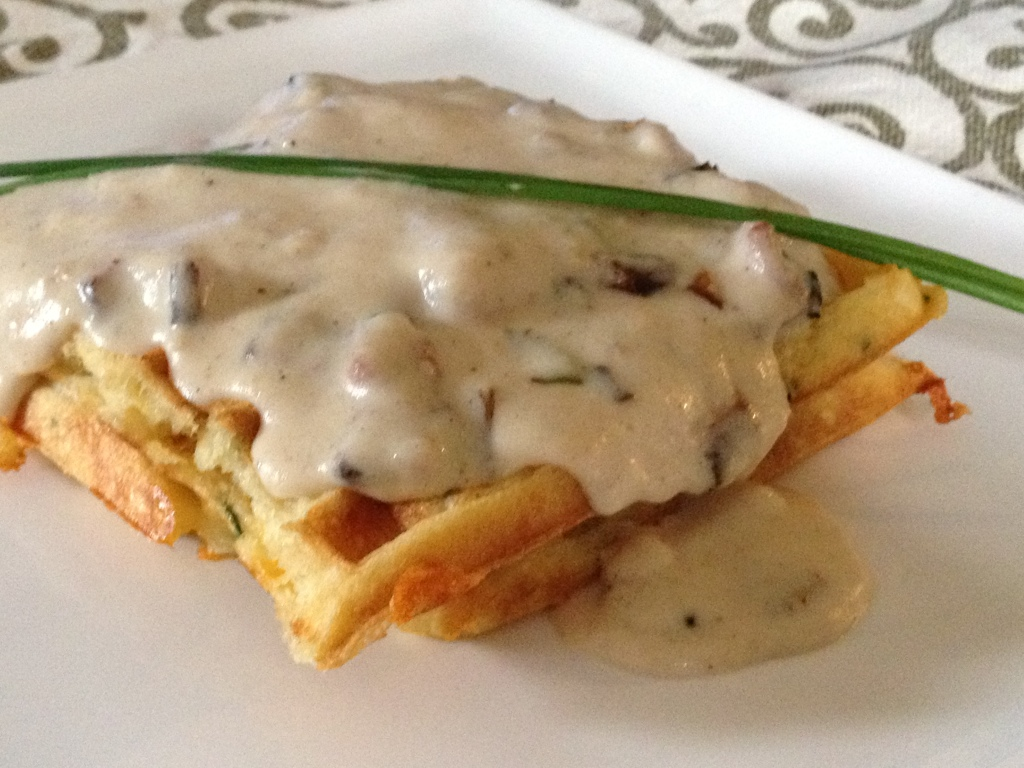 Chive and cheddar buttermilk waffles