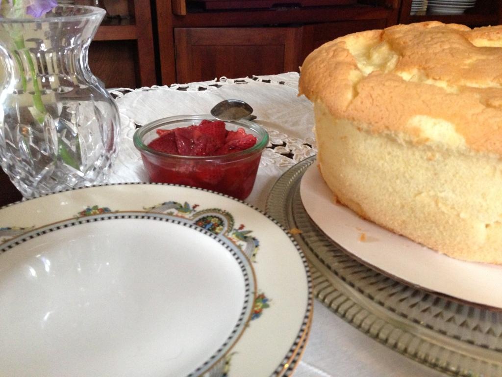 Chiffon cake, strawberries and rhubarb
