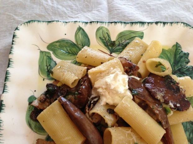 Rigatoni with mushrooms and eggplant