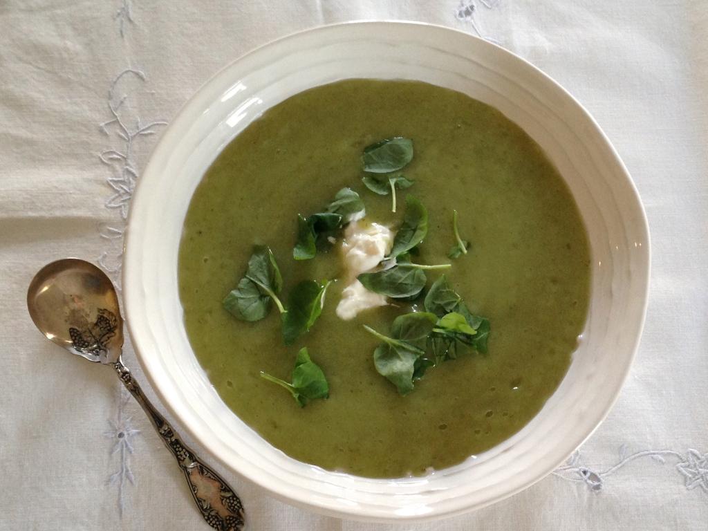 Leek, potato and watercress soup