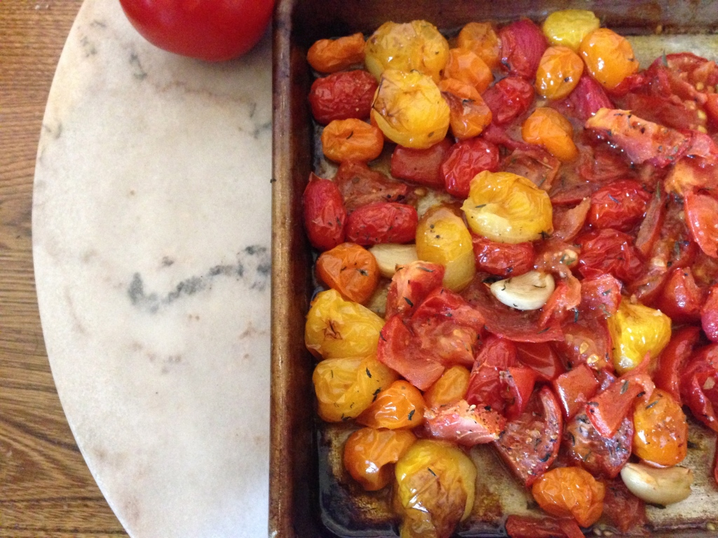 Oven roasted tomatoes for sauce
