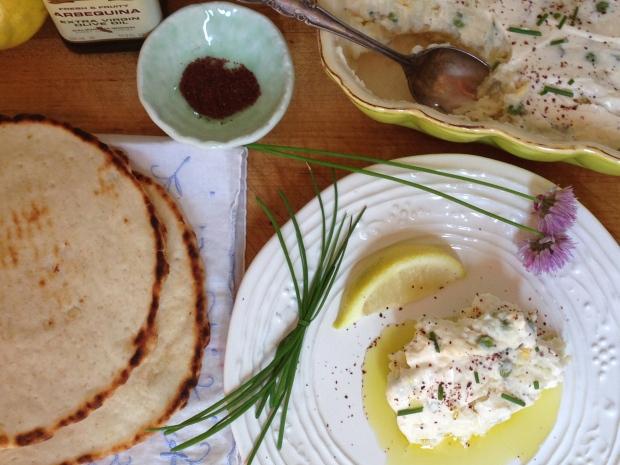 Salad e Olivieh,flat bread