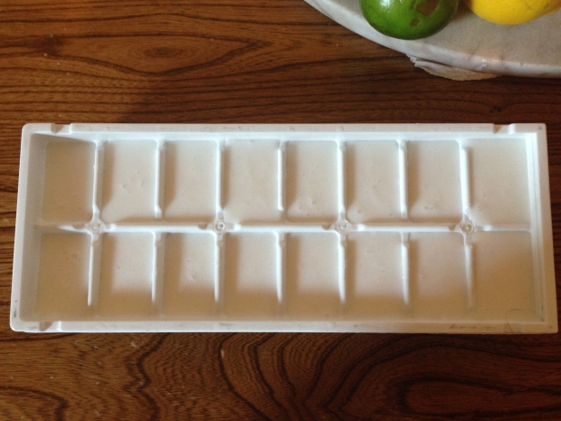 Pour into ice cube tray, makes exactly 16 cubes