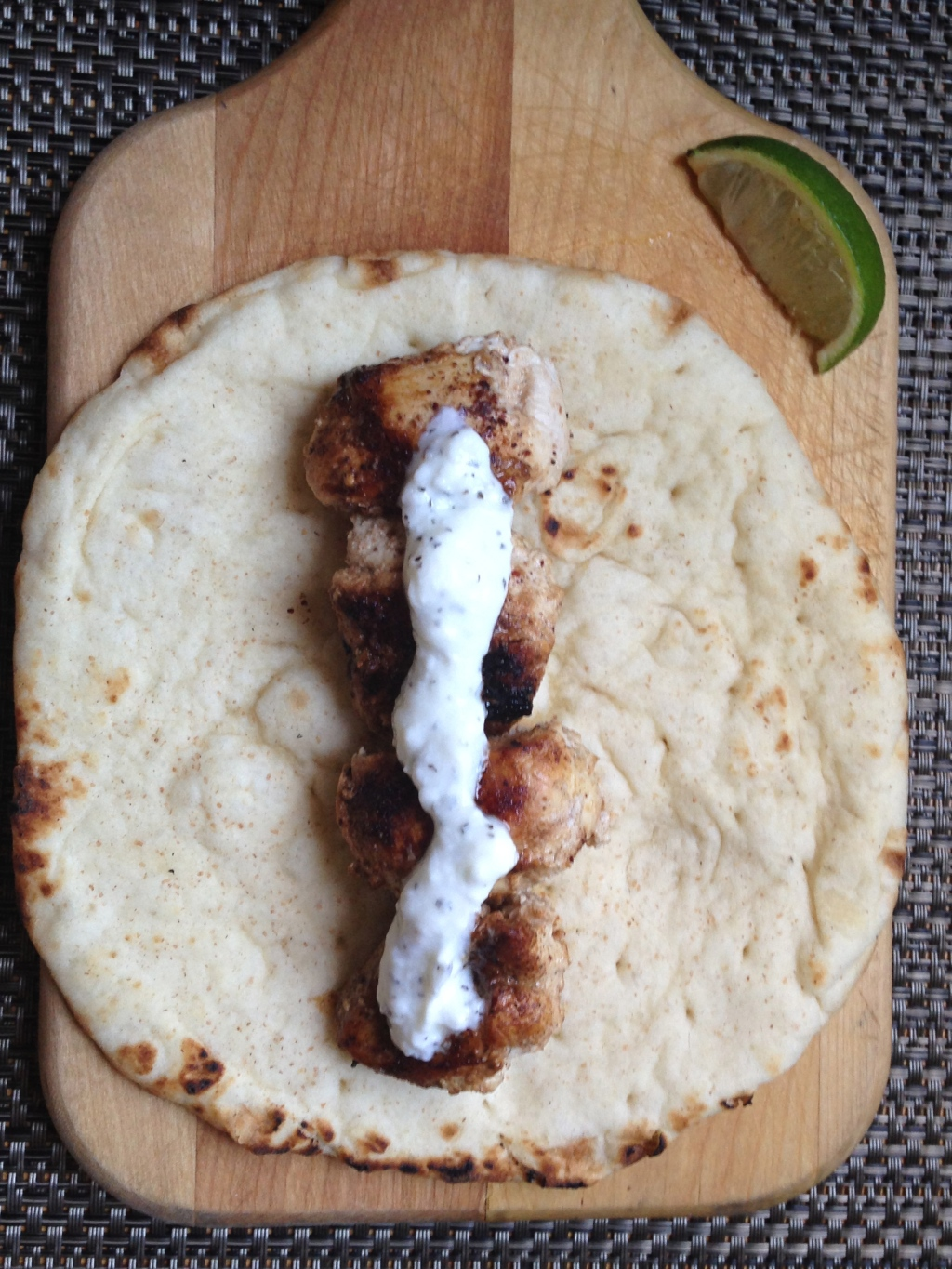 Kebab on flatbread