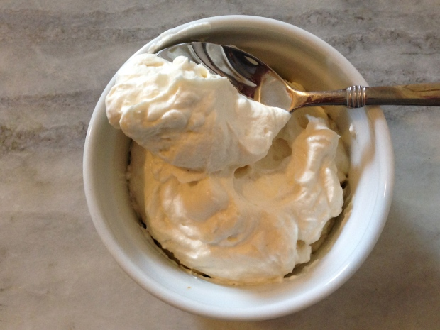 Whipped goat cheese and cream