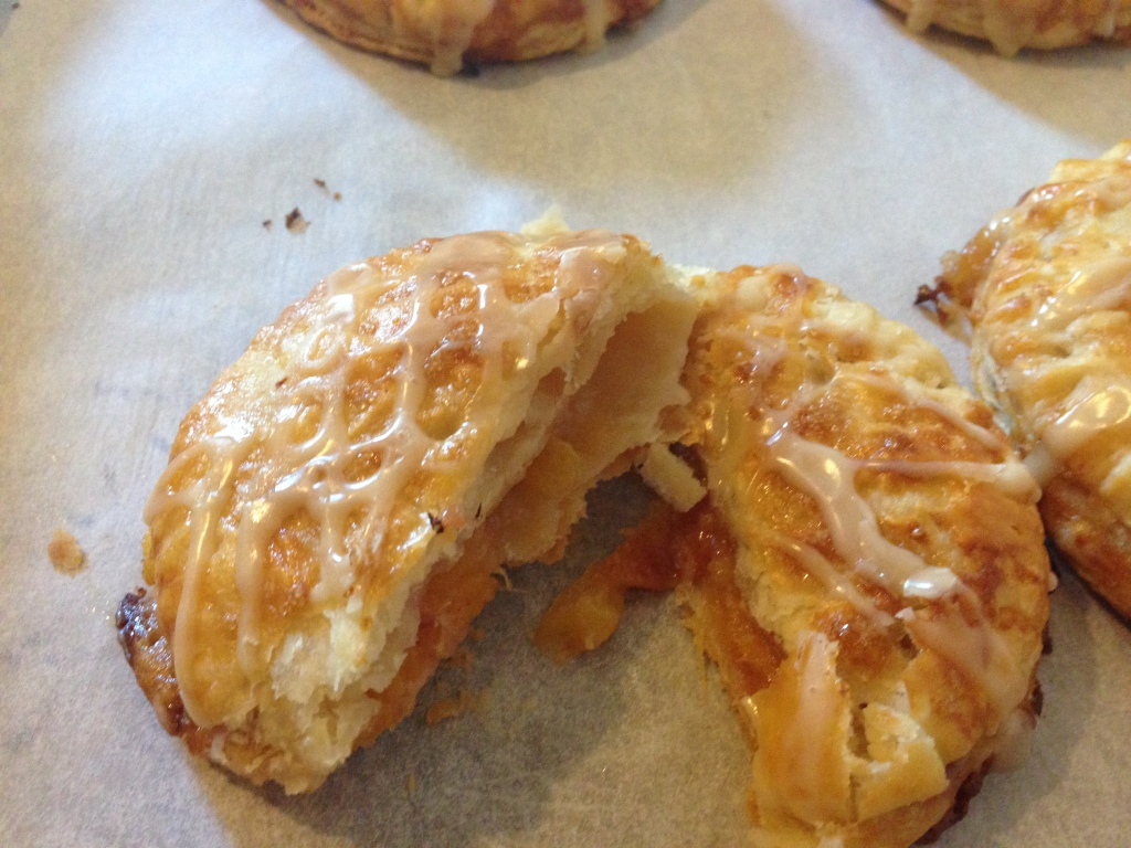 Flaky pastry tart sweet peaches