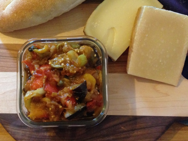 Caponata, bread and cheese