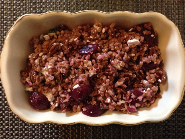 Farro with beets, pecans and feta
