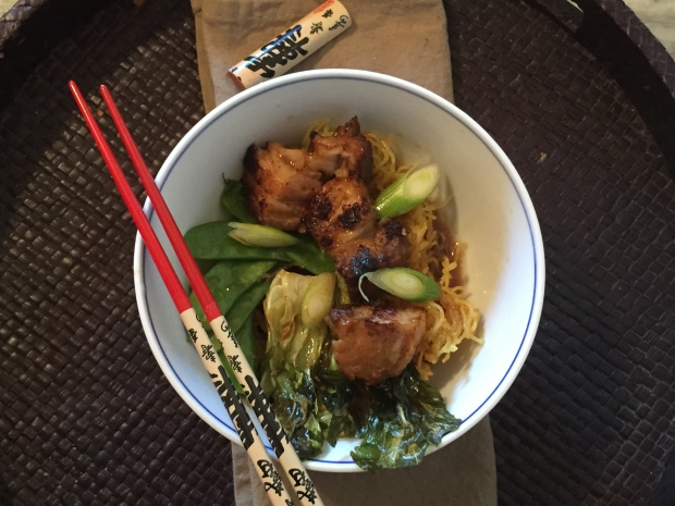 Crunchy noodles, vegetables and pork belly
