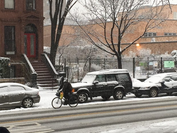 intrepid Brooklynite Biking in the snow