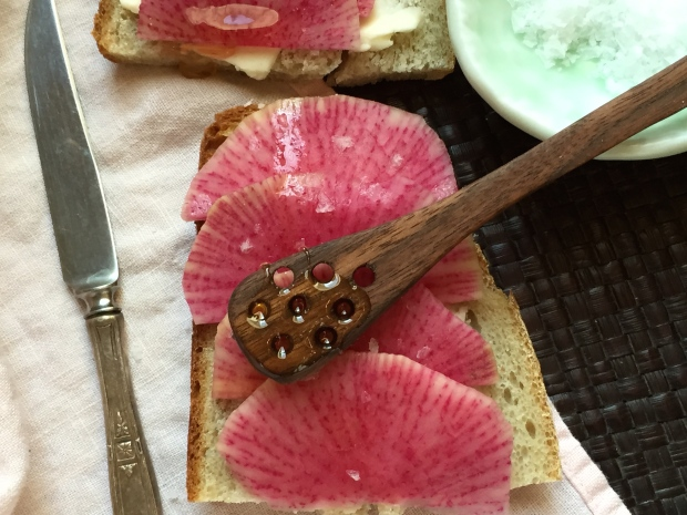 bread, butter and radishes