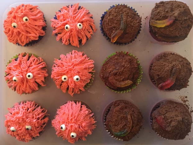 monster and dirt cupcakes