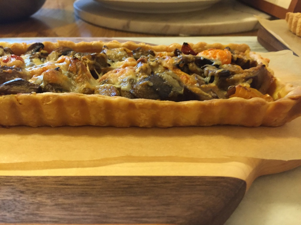 Roasted vegetable and Manchego tart