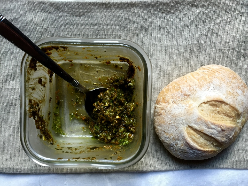 the end of the homemade pesto and homeade bread