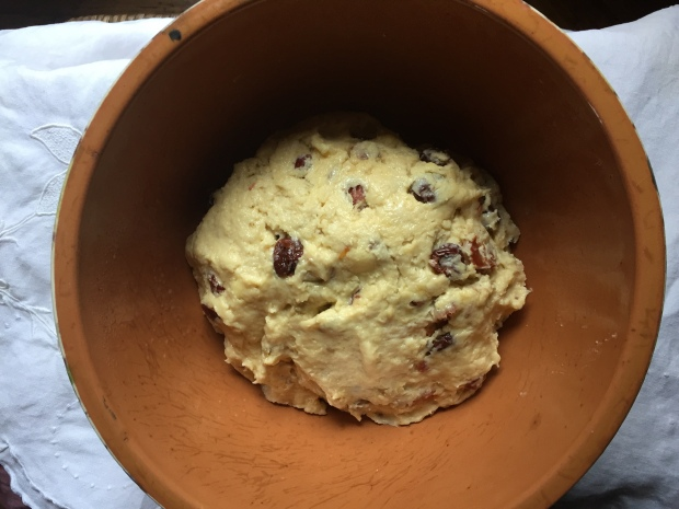 Stollen dough ready for an overnight chilly rise